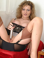 Naughty pantymom Kerry loves to play all alone - Girdles Granny